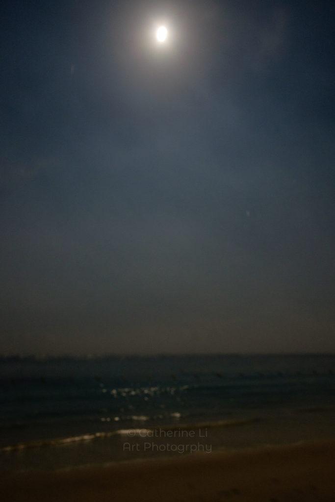 Beach, Indian Ocean, Mauritius, ile Maurice, mood, moody, moon, moon light, night scene, nocturnal image, ocean, sea, seascape, serene, wall art